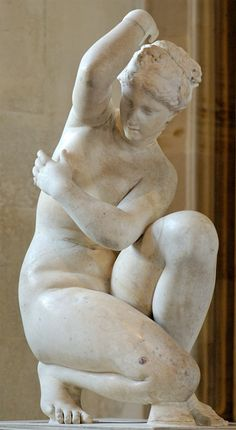 Crouching Aphrodite (Venus Accroupie), a second century marble sculpture of the Imperial Roman Era, based on an original Greek statue of 3rd Century BC, height: 71 cm (27 ¾ in.), from the collection of Louis XIV, now in Musée du Louvre, Paris, France