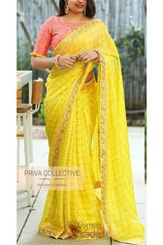 Yellow Cotton Silk Indian Embroidered Saree With Usntitched Running Blouse For Bridal Bridesmaid Wedding Festive Wear Designer Saree Trendy Sarees, Stylish Sarees, Fancy Sarees, Party Wear Sarees, Cotton Saree Blouse Designs, Fancy Blouse Designs, Stylish Blouse Design, Saree Models, Bollywood Saree