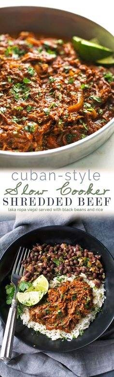 Cuban Shredded Beef (Slow Cooker) - The easiest recipe for ropa vieja! Made in the slow cooker. Just add everything in and out comes the most tender, shredded beef EVER! #cubanshreddedbeef #shreddedbeeftacos #ropavieja #slowcooker | http://Littlespicejar.com