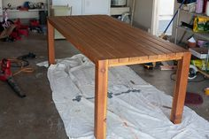 I like this 2x4 table with 4x4 legs.