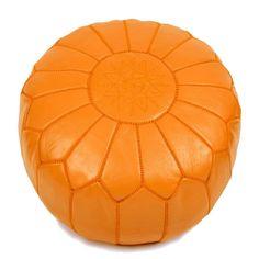 Moroccan Home Decor, Orange Home Decor, Moroccan Furniture, Moroccan Design, Moroccan Bathroom, Luxury Furniture, Furniture Decor, Moroccan Pouffe, Moroccan Leather Pouf