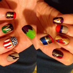 Since I am currently obsessed with The Avengers... how awesome are these character-inspired nails?!