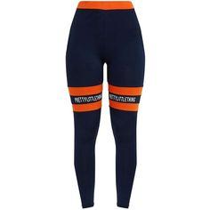 Navy with Orange Banded Leggings (1,435 DOP) ❤ liked on Polyvore featuring pants, leggings, orange trousers, blue leggings, blue trousers, navy trousers and legging pants