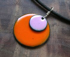 Copper Enamel Necklace Clover Pink and Pumpkin by Steinvika, $29.00    Rock your late summer tan with this color combo!