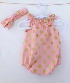Pink with Gold Spots Baby Girl Playsuit Romper with matching knotted headband Girls Playsuit, Playsuit Romper, Baby Girl Fashion, Kids Fashion, Bebe Love, Culottes, Baby Kids Clothes, Baby Time, My Baby Girl
