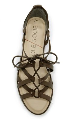 Gladiator-inspired leather lace-up sandal in olive brown