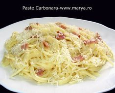 "Cele mai bune ""Paste Carbonara "" preparate acasa , ingrediente la indemana si rasfat pe Pasta Carbonara, 20 Min, Italian Recipes, Food And Drink, Ethnic Recipes, Mai, Random, Fat, Italian Soup Recipes"