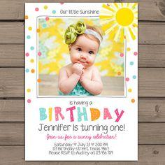 Sunshine Birthday Party Invite Sunshine by Anietillustration                                                                                                                                                                                 More