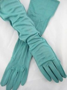 Aqua/Teal 40s Vintage Elbow Length Gloves
