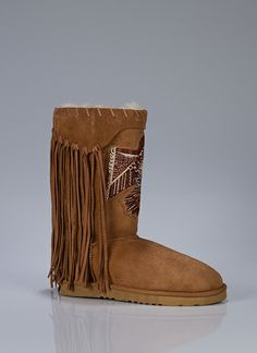 Embroidered Fringe Boots.