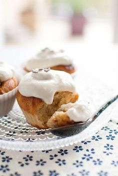 Vanilla and Lavender Muffins with Honey Yogurt Icing