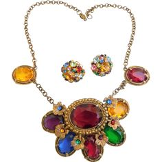 Fabulous Art Deco Moghul Royal Jewels Chunky Necklace Choker Large Open Glass Crystals & Clip Earrings Vintage