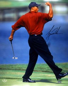 Tiger Woods Autographed 'Fist-Pump' Photo - Game Day Legends