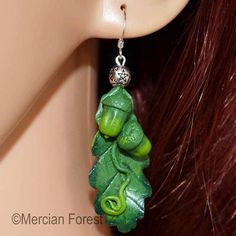 Sacred Oak Leaf and Acorn Earrings - Pagan Jewellery, Druid, Wiccan, Nature Acorn And Oak, Pagan Jewelry, Pentacle, Wiccan, Different Colors, Belly Button Rings, Sculpting, Polymer Clay, Oak Leaves