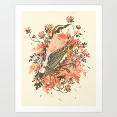 bird, floral, flowers, pretty, dead, plants, pink, red, coral