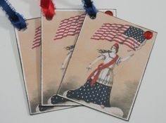 vintage lady liberty shabby chic tags set of 6 by OkioBDesigns, $4.00