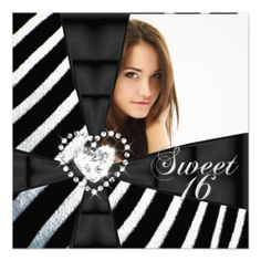 Zebra Sweet 16 Sixteen Birthday Party Photo Announcement