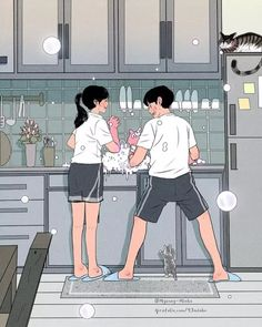 This Korean Artist Giving Serious Through His Illustration Drawing - I am a big fan of kdrama aka Korean dramas especially their rom-com drama. but today I was scrollin - Love Cartoon Couple, Cute Love Cartoons, Anime Love Couple, Cute Anime Couples, Cute Couple Drawings, Cute Couple Art, Cute Drawings, Hipster Drawings, Pencil Drawings
