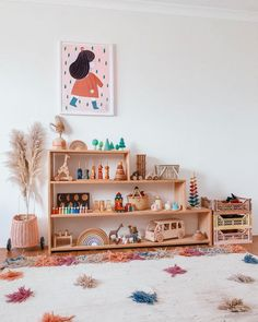 Its not quite finished but i couldn't resist 🙊 Brooklyn's toy shelf has had a mini update and I'm completely obsessed! New toys means new… Playroom Design, Playroom Decor, Kids Room Design, Waldorf Playroom, Baby Playroom, Nursery Room, Kids Bedroom, Baby Room, Montessori Toddler Rooms