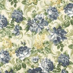 """Amazon.com - 54"""" E314 Blue And Green, Floral Indoor And Outdoor Fabric By The Yard"""