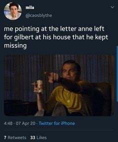 Gilbert And Anne, Funny True Quotes, Gilbert Blythe, Haha So True, Teen Movies, Anne Shirley, Book Tv, Pride And Prejudice, Musica