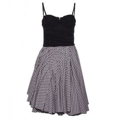 D&G Black/White Gingham Short Dress ($775) ❤ liked on Polyvore featuring dresses, zipper dress, short dresses, ruched cocktail dress, open back mini dress and white and black dress