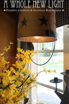 Handmade Bucket Lamp - A Whole New Light. Choice of bucket colors, mustard , cream or burgundy $49.95