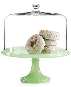 Martha Stewart Collection Jadeite Cake Stand with Dome Only at Macy\u0027s - Serveware - Dining  sc 1 st  Pinterest & Martha Stewart Collection Milk Glass Ruffle Cake Stand with Dome ...