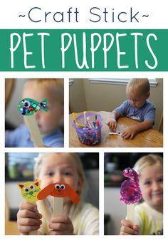 Craft Stick Pet Puppets for Kids ;; lollipop stick crafts :: easy animal crafts