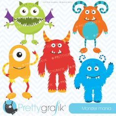 Monster mania -  adorable monsters for invitations, cards, scrapbooking and more.