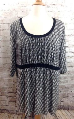 GEORGE Empire Waist Slinky Stretch Top Plus Size 2X 18W / 20W Circle Dot Print  #George #KnitTop #Casual