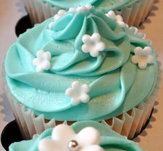 Tiffany Blue Wedding Cupcakes | from the sweet kitchen