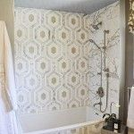 2013 Pasadena Showcase House - L2 Interiors Bedroom Suite - Calacatta and Thasos hex shower tile