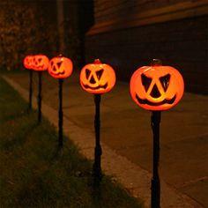 5 Außen Herbst/Halloween Kürbis Steck Leuchten, LEDs orange, von Festive Lights