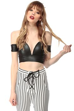 f27cc545f004c Black Faux Leather Plunging Off Shoulder Crop Top   Cicihot Top Shirt  Clothing Online Store