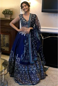 Featuring a navy blue flared lehenga skirt adorned by Sonam Kapoor, in silk with gotta, dori, pearl, Indian Bridal Outfits, Indian Bridal Lehenga, Indian Designer Outfits, Indian Dresses, Indian Clothes, Red Lehenga, Navy Blue Lehenga, Lehenga Style, Indian Outfits