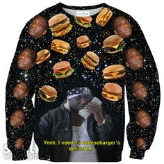 Cheeseburger X Gucci Mane Click here to view sizing chart. Our sweaters are made of 100% polyester, with the inside feeling soft and fuzzy to keep you warm and
