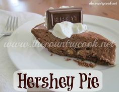 Hershey Bar Pie = comfort  :)     And while I LOVE this recipe, it's a bit sweet for my taste.  I would substitute REAL, fresh but unsweetened whipped cream for the Cool Whip.  The marshmallows and chocolate are sweet enough on their own.  Then I wouldn't feel so guilty about putting an extra square of chocolate on top!  lol