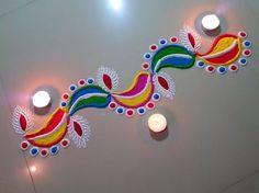 Easy Quick and Creative Deepak rangoli Border design - YouTube
