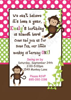Brown lion jungle safari 1st birthday invitation by purpletrail monkey birthday party printable invitation 5x7 4x6 pink green brown girl need them printed just ask filmwisefo Image collections