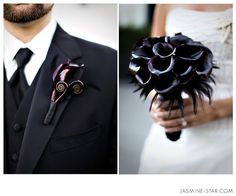 dramatic calla lily bouquet and boutonniere