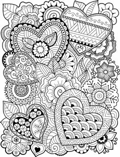 Free printable Valentine's Day coloring pages for use in your classroom and home from PrimaryGames. Print and color this Zentangle Hearts coloring page. Heart Coloring Pages, Free Adult Coloring Pages, Mandala Coloring Pages, Colouring Pages, Printable Adult Coloring Pages, Coloring Sheets, Coloring Books, Coloring Pages For Grown Ups, Detailed Coloring Pages