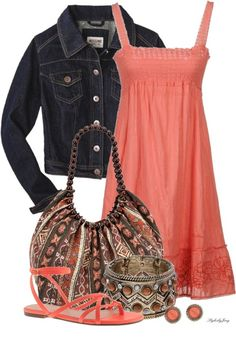 pink dress, denim jacket & neutrals // cute Summer dress Outfit