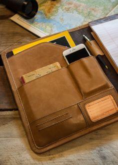 Riverton Leather Padfolio - Business and Travel Portfolio - Whiskey Tan