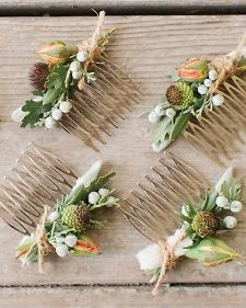 For these garden party nuptials, the bride and her 'maids all wore hair combs accented with flowers and herbs and tied off with rustic twine.