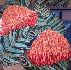 Seasalt Window Props, Oversized collaged Protea flower heads and tropical collaged palm leaves. Made in house by our window designers. Protea Flower, Flowers, Garden Windows, Window Displays, Window Design, Tropical Garden, Sea Salt, Palm, Designers