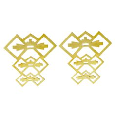 18ct Yellow Gold Plated Brass    42 x 45mm  Weight - 10.5 grams    *Earring pins areSterling Silver