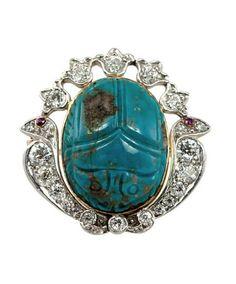 TIFFANY & CO | Egyptian Revival Turquoise Diamond Platinum Scarab Brooch, circa 1905.