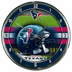 "NFL Houston Texans Chrome Clock by WinCraft. $19.99. Officially licensed wall clock. Attention grabbing styling for any room. Shiny Chrome plastic construction with glass lens and metal hands. High quality quartz movement with a sweep second hand.   Requires one (AA) battery. Measures 12"" in diameter. Decorated and Assembled in USA with a China Components"