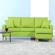 Madison Home USA Reversible Chaise Sectional Finish: Green